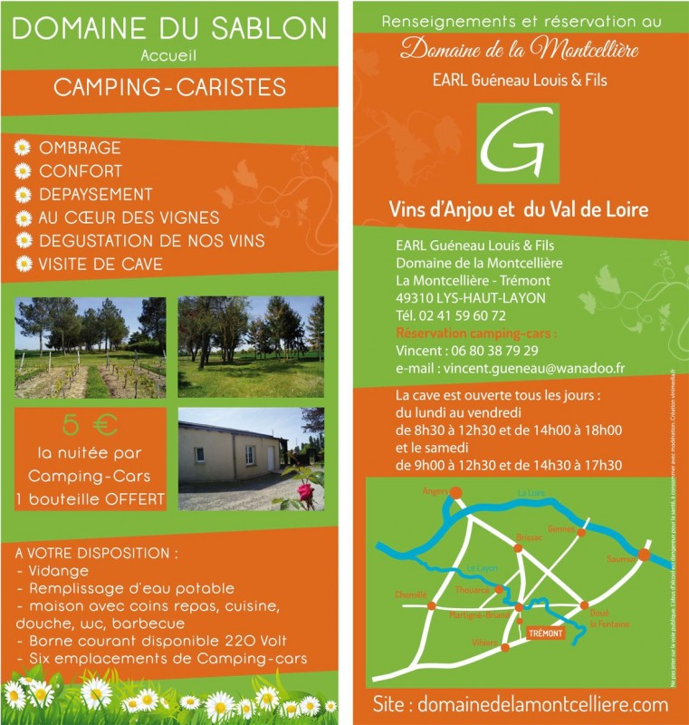Cholet Tourisme Aire Accueil Camping-Cars Domaine du Sablon La Fosse-de-Tigné