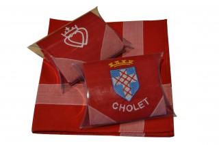 Mouchoir brodé de Cholet - Blason de Cholet et Cœur Vendéen