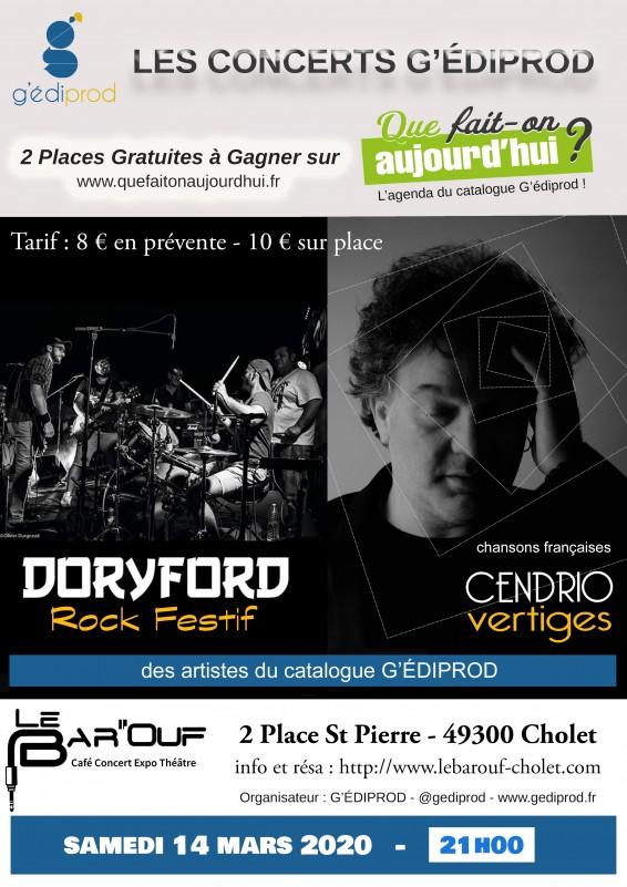 affiche concert Doryford Cendrio Bar'Ouf Cholet mars 2020
