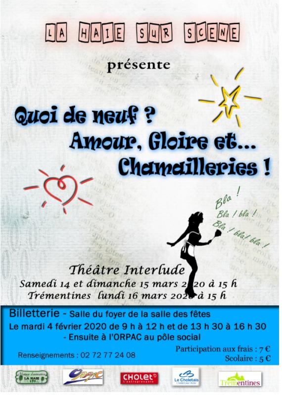 Affiche théâtre Quoi de neuf ? Amour, Gloire et... chamailleries !